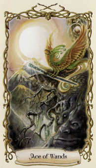 Ace of Rods Tarot Card - Fantastical Creatures Tarot Deck