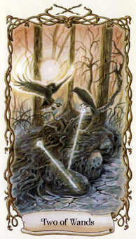 Two of Rods Tarot Card - Fantastical Creatures Tarot Deck