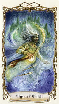 Three of Wands Tarot Card - Fantastical Creatures Tarot Deck
