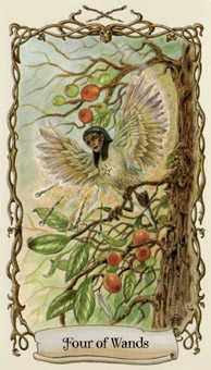 Four of Wands Tarot Card - Fantastical Creatures Tarot Deck