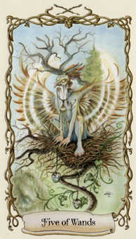 Five of Rods Tarot Card - Fantastical Creatures Tarot Deck