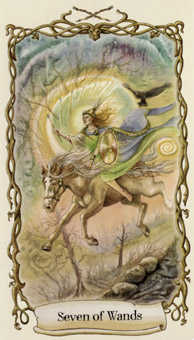 Seven of Rods Tarot Card - Fantastical Creatures Tarot Deck