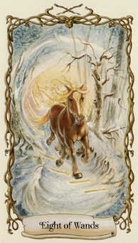 Eight of Rods Tarot Card - Fantastical Creatures Tarot Deck