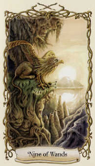 Nine of Clubs Tarot Card - Fantastical Creatures Tarot Deck