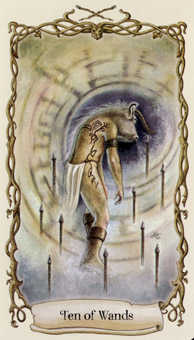 Ten of Rods Tarot Card - Fantastical Creatures Tarot Deck