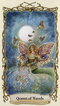 Queen of Batons Tarot Card - Fantastical Creatures Tarot Deck