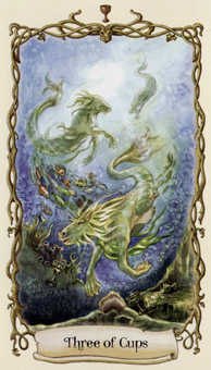 Three of Hearts Tarot Card - Fantastical Creatures Tarot Deck