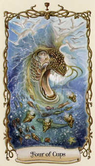 Four of Cups Tarot Card - Fantastical Creatures Tarot Deck