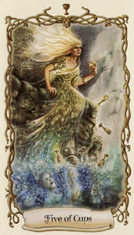 Five of Cups Tarot Card - Fantastical Creatures Tarot Deck