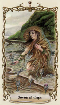 Seven of Hearts Tarot Card - Fantastical Creatures Tarot Deck