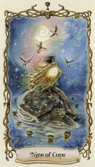 Nine of Hearts Tarot Card - Fantastical Creatures Tarot Deck