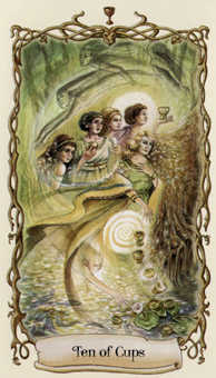 Ten of Hearts Tarot Card - Fantastical Creatures Tarot Deck