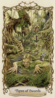 Three of Swords Tarot Card - Fantastical Creatures Tarot Deck