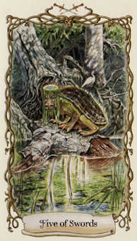 Five of Spades Tarot Card - Fantastical Creatures Tarot Deck