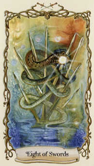 Eight of Swords Tarot Card - Fantastical Creatures Tarot Deck