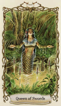 Queen of Swords Tarot Card - Fantastical Creatures Tarot Deck