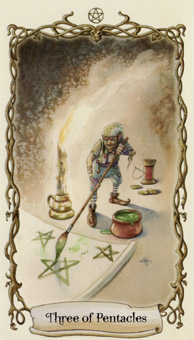 Three of Pentacles Tarot Card - Fantastical Creatures Tarot Deck