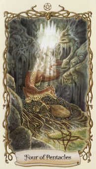 Four of Coins Tarot Card - Fantastical Creatures Tarot Deck