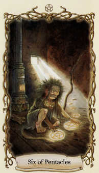 Six of Pentacles Tarot Card - Fantastical Creatures Tarot Deck