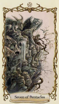 Seven of Coins Tarot Card - Fantastical Creatures Tarot Deck