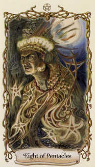 Eight of Coins Tarot Card - Fantastical Creatures Tarot Deck