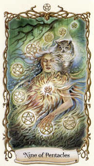 Nine of Coins Tarot Card - Fantastical Creatures Tarot Deck