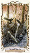 Two of Wands Tarot card in Fantastical Creatures Tarot deck