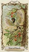 Four of Wands Tarot card in Fantastical Creatures Tarot deck
