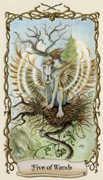 Five of Wands Tarot card in Fantastical Creatures Tarot deck