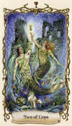 Two of Cups Tarot card in Fantastical Creatures Tarot deck
