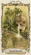 Two of Swords Tarot card in Fantastical Creatures deck