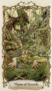 Three of Swords Tarot card in Fantastical Creatures deck