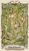 Four of Swords Tarot card in Fantastical Creatures deck