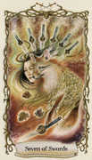 Seven of Swords Tarot card in Fantastical Creatures deck