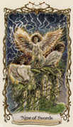 Nine of Swords Tarot card in Fantastical Creatures Tarot deck