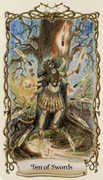 Ten of Swords Tarot card in Fantastical Creatures deck