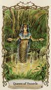 Queen of Swords Tarot card in Fantastical Creatures deck