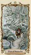 Five of Pentacles Tarot card in Fantastical Creatures Tarot deck