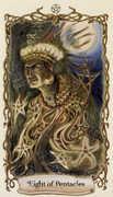 Eight of Pentacles Tarot card in Fantastical Creatures Tarot deck