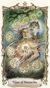 Nine of Pentacles Tarot card in Fantastical Creatures deck