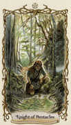 Knight of Pentacles Tarot card in Fantastical Creatures deck