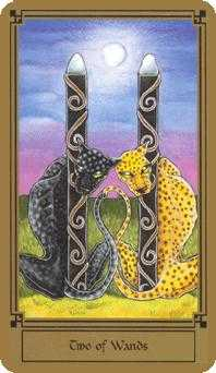 Two of Rods Tarot Card - Fantastical Tarot Deck
