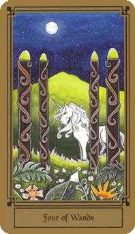 Four of Batons Tarot Card - Fantastical Tarot Deck