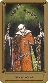 Five of Batons Tarot Card - Fantastical Tarot Deck