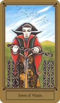 Seven of Rods Tarot Card - Fantastical Tarot Deck