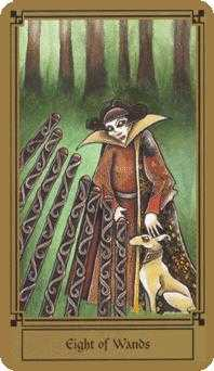 Eight of Staves Tarot Card - Fantastical Tarot Deck