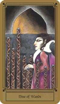 Nine of Batons Tarot Card - Fantastical Tarot Deck