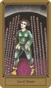 Ten of Staves Tarot Card - Fantastical Tarot Deck