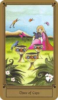 Three of Hearts Tarot Card - Fantastical Tarot Deck