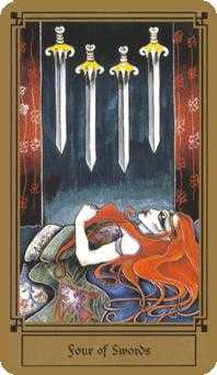 Four of Arrows Tarot Card - Fantastical Tarot Deck